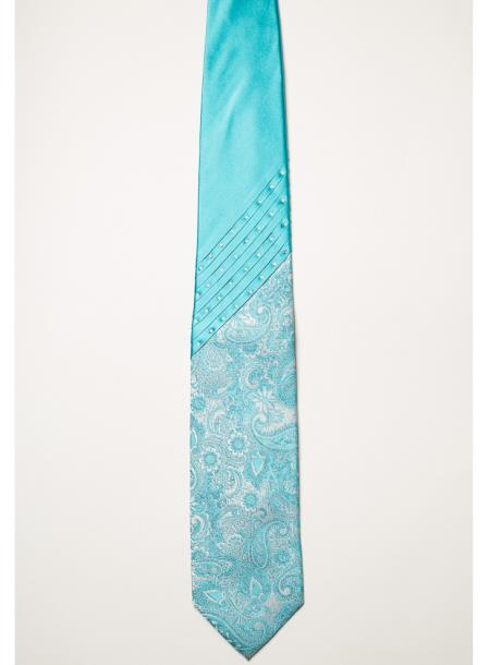 Mens Paisley Pattern Light Blue Swarovski Crystal Steven Land Fashion Ties
