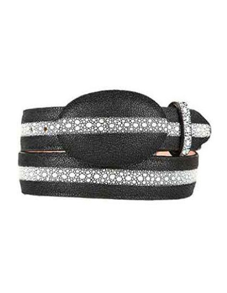 SKU#SM246 Stingray Print (Imitation) Western Style Belt Black