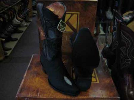 King Exotic Genuine Stingray mantarraya skin Skin Snip Toe Western Cowboy Dress Cowboy Botas de mantarraya - Mantarraya boots Cheap Priced For Sale Online EE Black