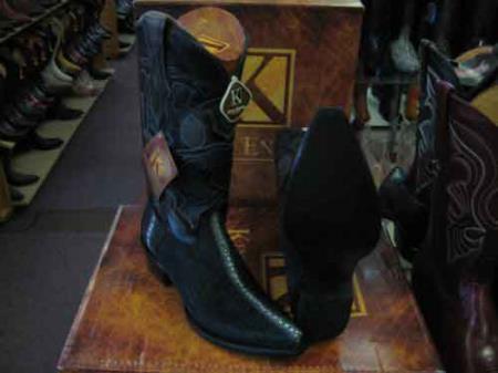 King Exotic Genuine Stingray mantarraya skin Snip Toe Western Cowboy Boot Black
