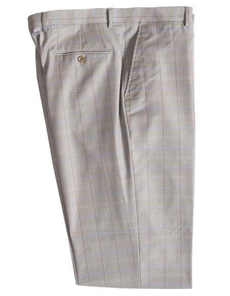 Mens Stone 100% Wool Plaid Pattern Dress Pants unhemmed unfinished bottom