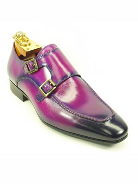 Mens Fashionable Double Monk Straps Stylish Dress Loafer Purple Dress Shoe