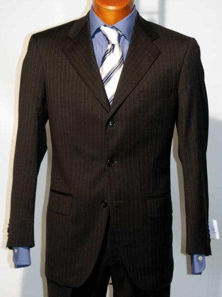 "SKU# ZB150 ""Strictly Business"" Black 3 Button Style Black mini narrow pinstripe wool feel poly~rayon Suit w/Gorgeo"