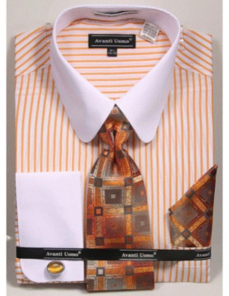 white Tab Collared French Cuffed Mustard Shirt with Tie/Hanky/Cufflink Set Mens Dress Shirt