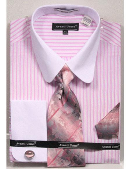 white Tab Collared French Cuffed Pink Shirt with Tie/Hanky/Cufflink Set Men's Dress Shirt