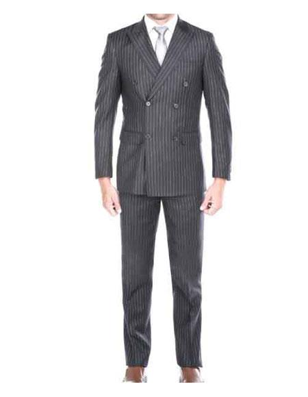 Mens Kingsman Striped Pattern Grey Peak Lapel Double Breasted Suit
