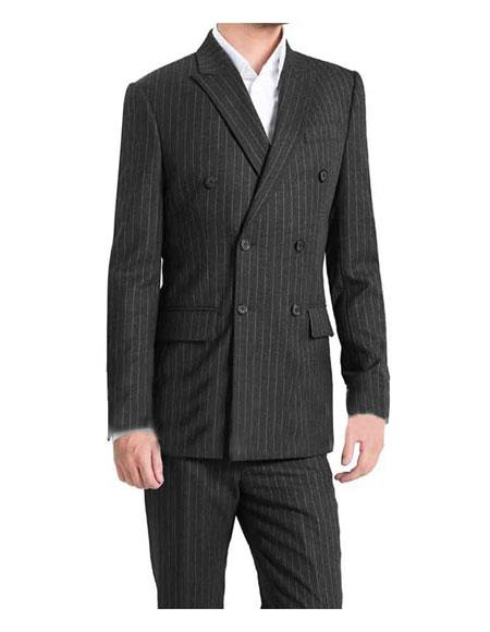 Mens Kingsman Striped Pattern Double Breasted Button Closure Fully Lined Grey Suit