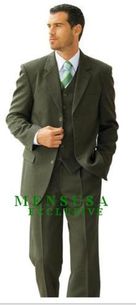 SKU# 772 Stunnig High Quality Dark Olive Green 3 buttons Vested wool feel poly~rayon fabric three piece suit $199