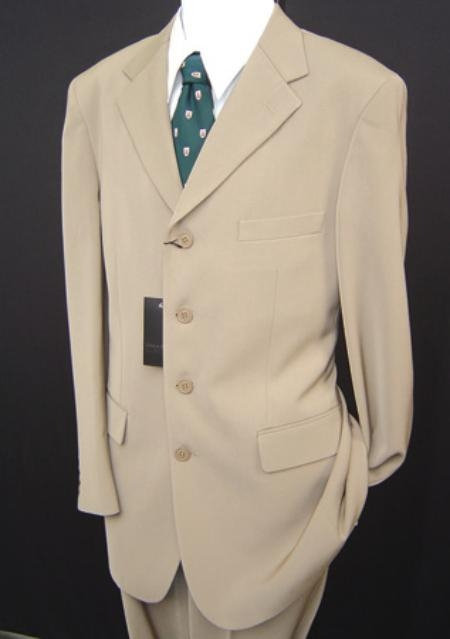 SKU# ENT683 Stunning Light Tan ~ Beige 4 Button Professional Suit $139