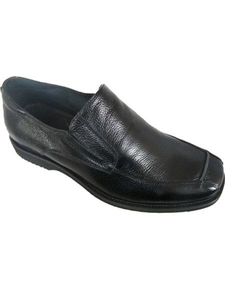 zota brand men's loafer style leather upper black casual dress shoe