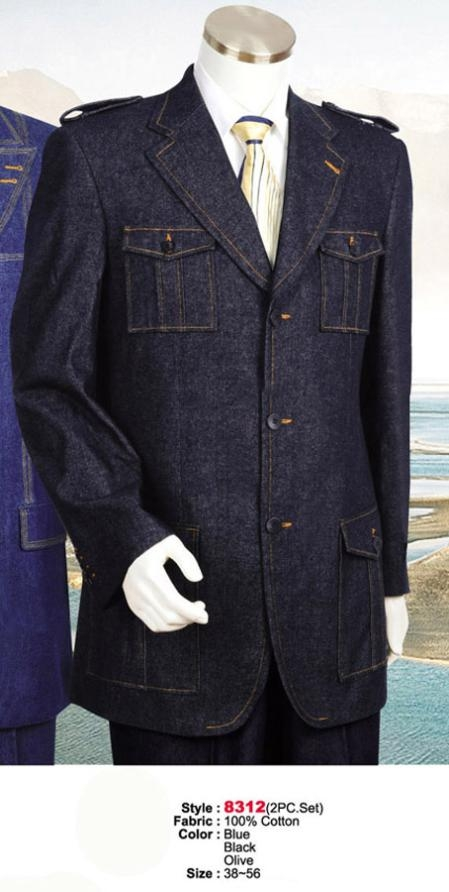 SKU#MU8301 Denim Cotton Fabric Suit Style comes in Blue or Black or Olive Military Safari Style Suit $199