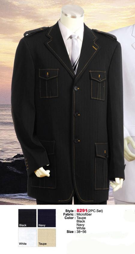 SKU#MU7447 Style comes in Black or Navy or Taupe or White Military Safari Style Suit $199