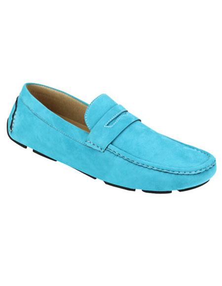 Mens stylish Aqua ~ Turquoise Color Casual Slip-On Loafer Shoes