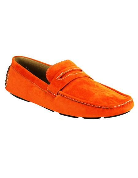 Mens stylish Casual Slip-On Stylish Dress Loafer Orange Shoes