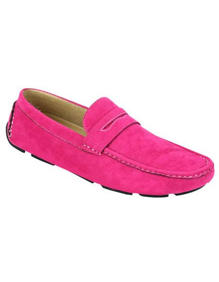 Mens stylish Casual Slip-On Fuschia Loafer Shoes