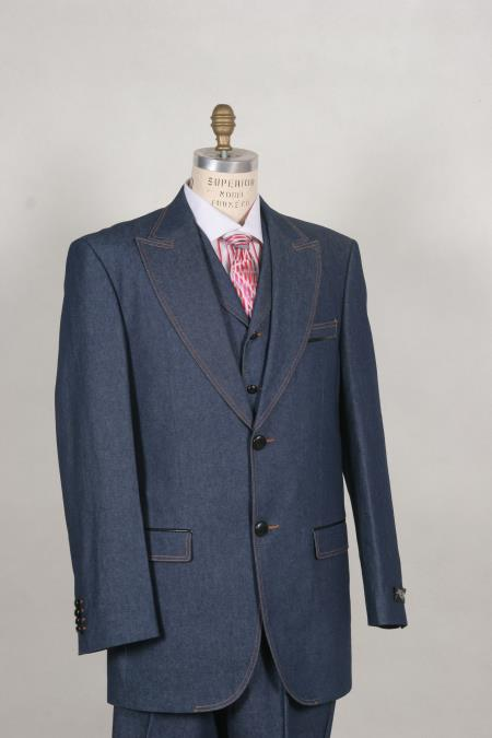 Mens Stylish Two Button Blue Suit Peak Lapel Vested Denim~Jean~Cotton wide leg pants