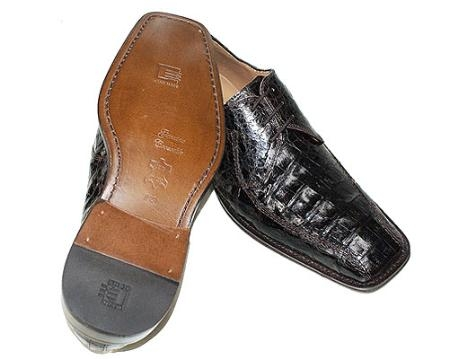 SKU#BW864 Stylish Brown Crocodile Skin Shoes Slip On ~ Loafer style $299