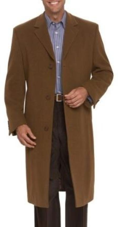 SKU#MUC19 Stylish Classic Wool & Cashmere single breasted overcoat Chestnut~Mocca~Tobacco