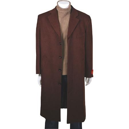 SKU#MUC19 Stylish Classic single breasted overcoat CoCo Dark Brown in Wool & Cashmere