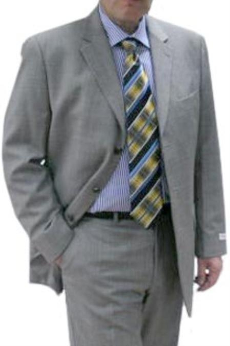 R&B_TS19 Stylish Hip Look Mid Grey Sharkskin 3 Button Flat Front Pant 100% Fine Super 140s $175