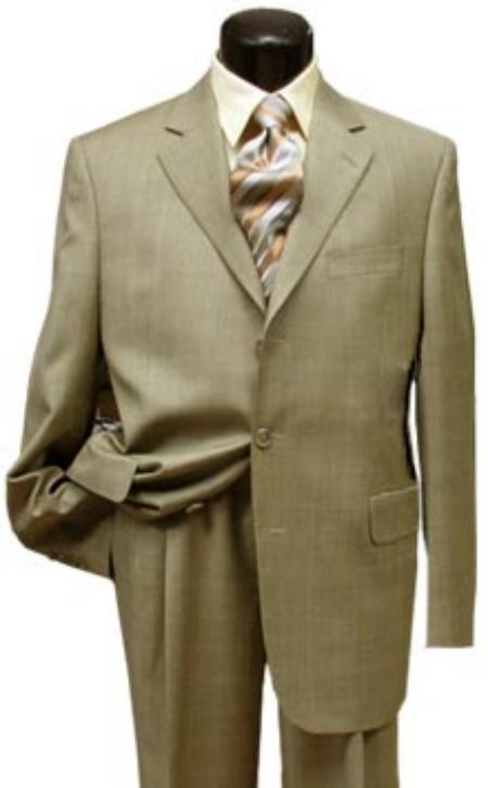 SKU# LS400 2 button Conservative Mini Pindots Teakweave Nailhead Salt & Pepper Birdseye Patterned Beige Suit $149