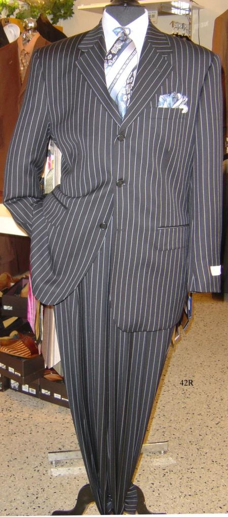 SKU# LKP-2134 Super 120s Sharp Black Pinstripe Super 120s $139