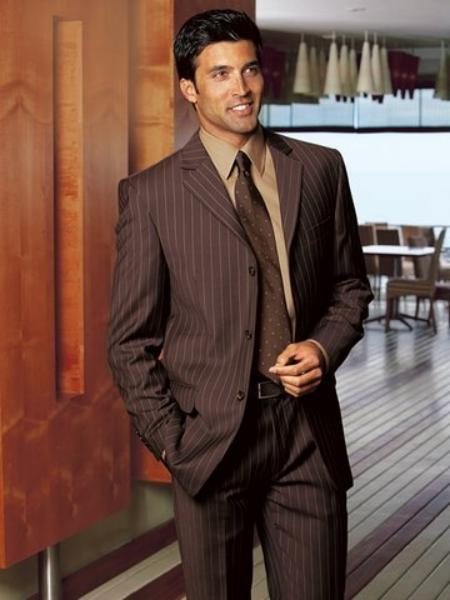SKU# ZLL27 Super 140 Wool 3-Button Brown Pinstripe premier quality italian fabric Suit $225