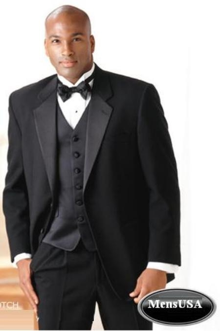 SKU# ZW5120 Super 140s 2Button Tuxedo Suit + Vest + Shirt + Bow Tie $149