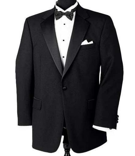 SKU# ZL129 Super 150s Wool premier quality italian fabric Design 1 Button Tuxedo jacket + Pants + Shirt + Bow Tie $175