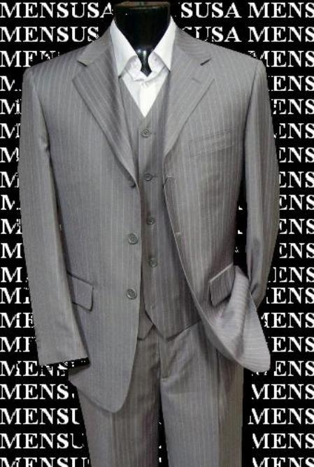 SKU# SHIL-28 Super Stylish Stunning Light Gray Pinstripe 3 Pieces Vested Super Fine Wool Feel Poly~Rayon $179