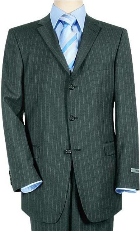 SKU# ZT44 Super 120 Wool & Cashmere 3-Button Charoal Gray & White Pinstripe premier quality italian fabric Suit $225