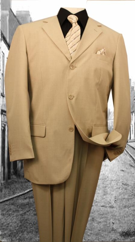Steve Harvey 3-button Suit - Beige/khaki/tan Super 120' With Open Inseam  With 2 Pleated Pants