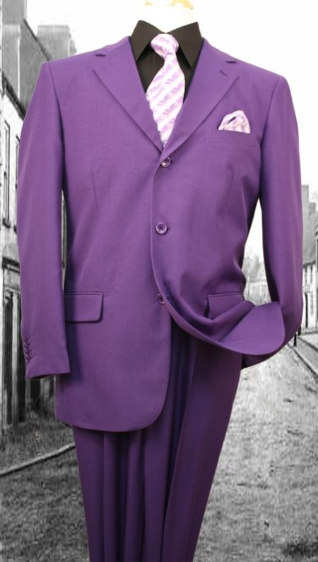 1940s Zoot Suit History & Buy Modern Zoot Suits Mens 3Button Suit Single Breasted Slim Fit Double Pleated Pants Purple $125.00 AT vintagedancer.com