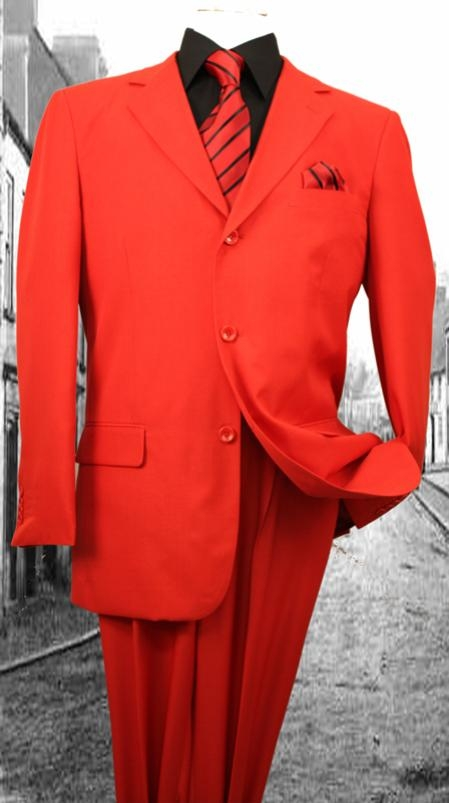 SKU#FL3937 Super 120S G-Red Solid Color Suit $75