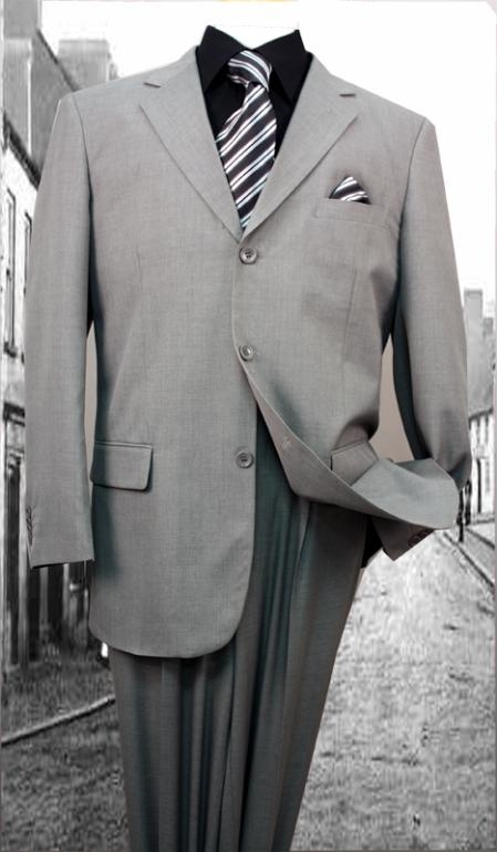 Men's Vintage Style Suits, Classic Suits Mens 3-Button Suit Single Breasted Slim Fit with 2 Pleated Pants Super 120 Suits - GrayGrey $79.00 AT vintagedancer.com