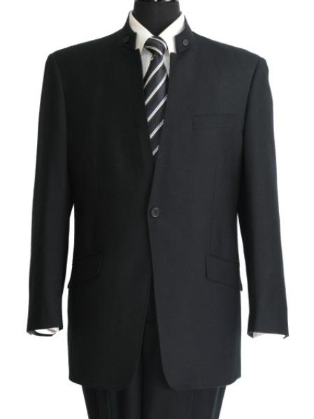 SKU#UA534 Navy Blue 2 Button Mandarin Banded Collar Suit  $175