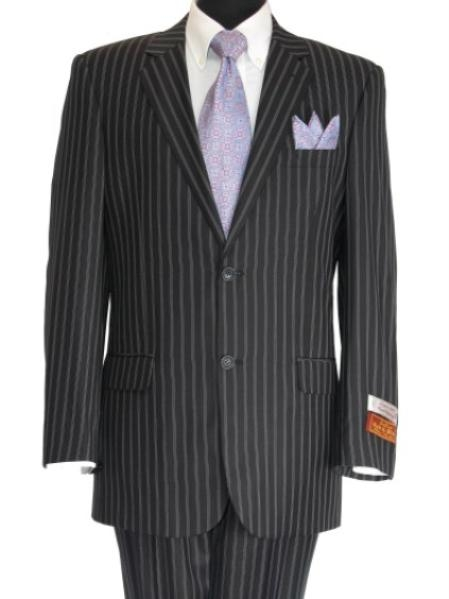 SKU#AX839 Super 140 Mens 2 Button Center Vented Black Suit