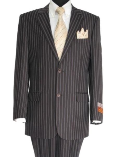 SKU#EC827 Super 140 Mens 2 Button Center Vented Brown Suit