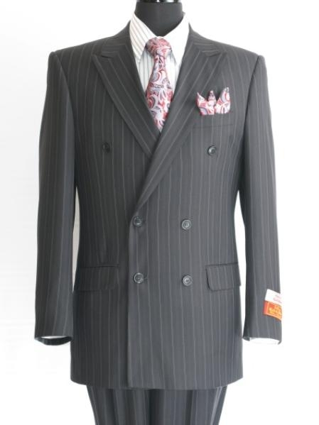 SKU#RM847 Stripe ~ Pinstripe Mens Black Double Breasted Suit