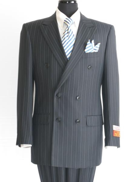 SKU#WN827 Stripe ~ Pinstripe Men's Navy Double Breasted Suit