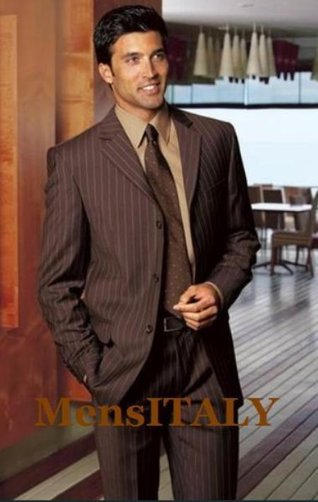 SKU# ZLL27 Super 140 Wool 3-Button Brown Pinstripe premier quality italian fabric Suit $199