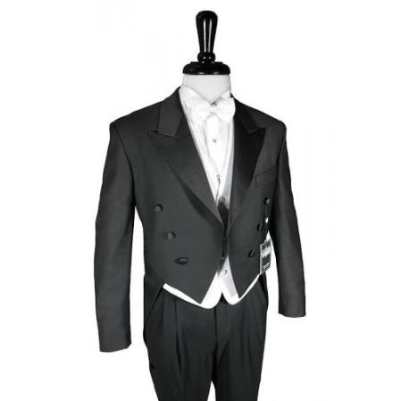 SKU#YA209 Super 150's Black Peak Tailcoat