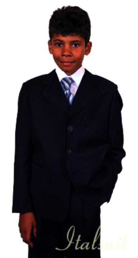 SKU#MK7978 Super 150s Italian super fine wool feel poly~rayon Black Suit For Kids $85
