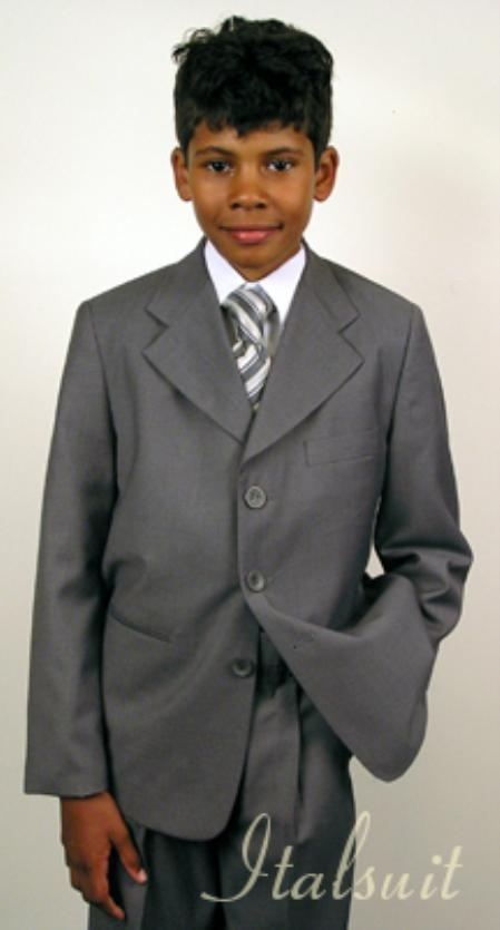 SKU#UM8892 Super 150s Italian super fine wool feel poly~rayon Gray Suit For Kids $65