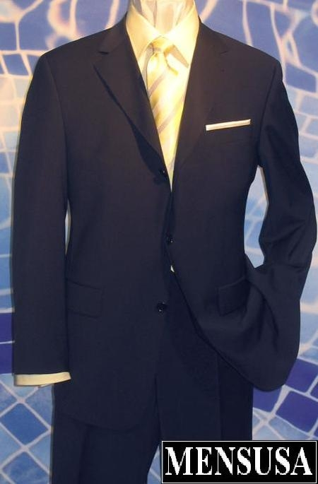 SKU# Gx303 Superior Navy Blue Light Weight premier quality italian fabric Super 120s Wool Men Business Suit $139