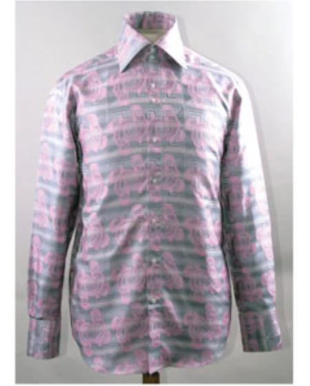 Buy SS-GQ21 Mens Pink High Collar Swirl Pattern Shiny Shirt