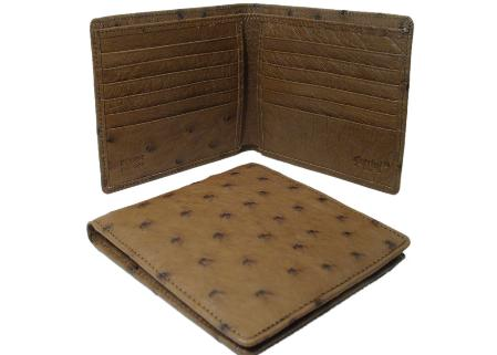 Men's Genuine Exotic Animal Skin Ostrich Wallet - Kango Tabac Hipster