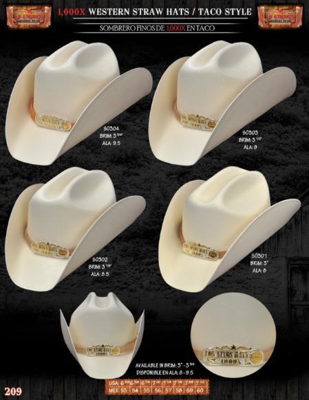 SKU#MLP8912 1,000x Taco Style Western Cowboy Straw Hat