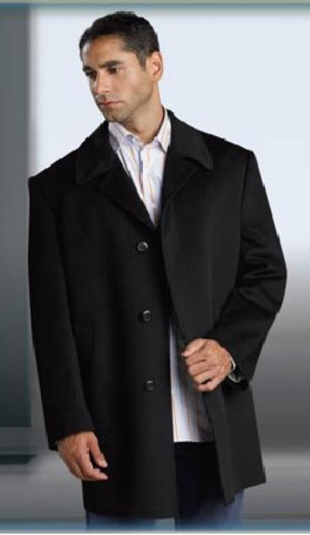 SKU#MUCoat07 Discounted Sale Shorter Length Wool Blend Single Breasted 3 Buttons under Front Placket Notch Lapel