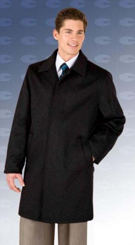 "SKU#Car coat 35"" Black four button fly front coat with set-in sleeves Wool&Cashmere"